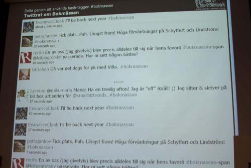 skärm som visar alla twitter-meddelanden