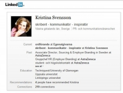LinkedIn min svenska profil