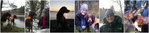 Kristina Svensson med hund collage 6 bilder