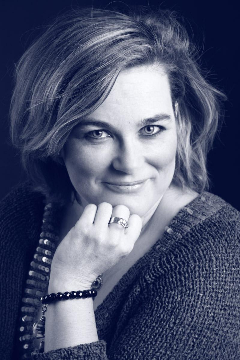 Kristina Svensson porträtt svart-vitt