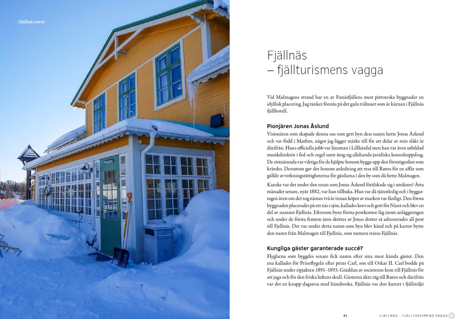 """Sida i boken """"Strövtåg i Funäsfjällen"""". Handlar om Fjällnäs."""